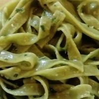 Tagliatelle verdi with Genoese sauce